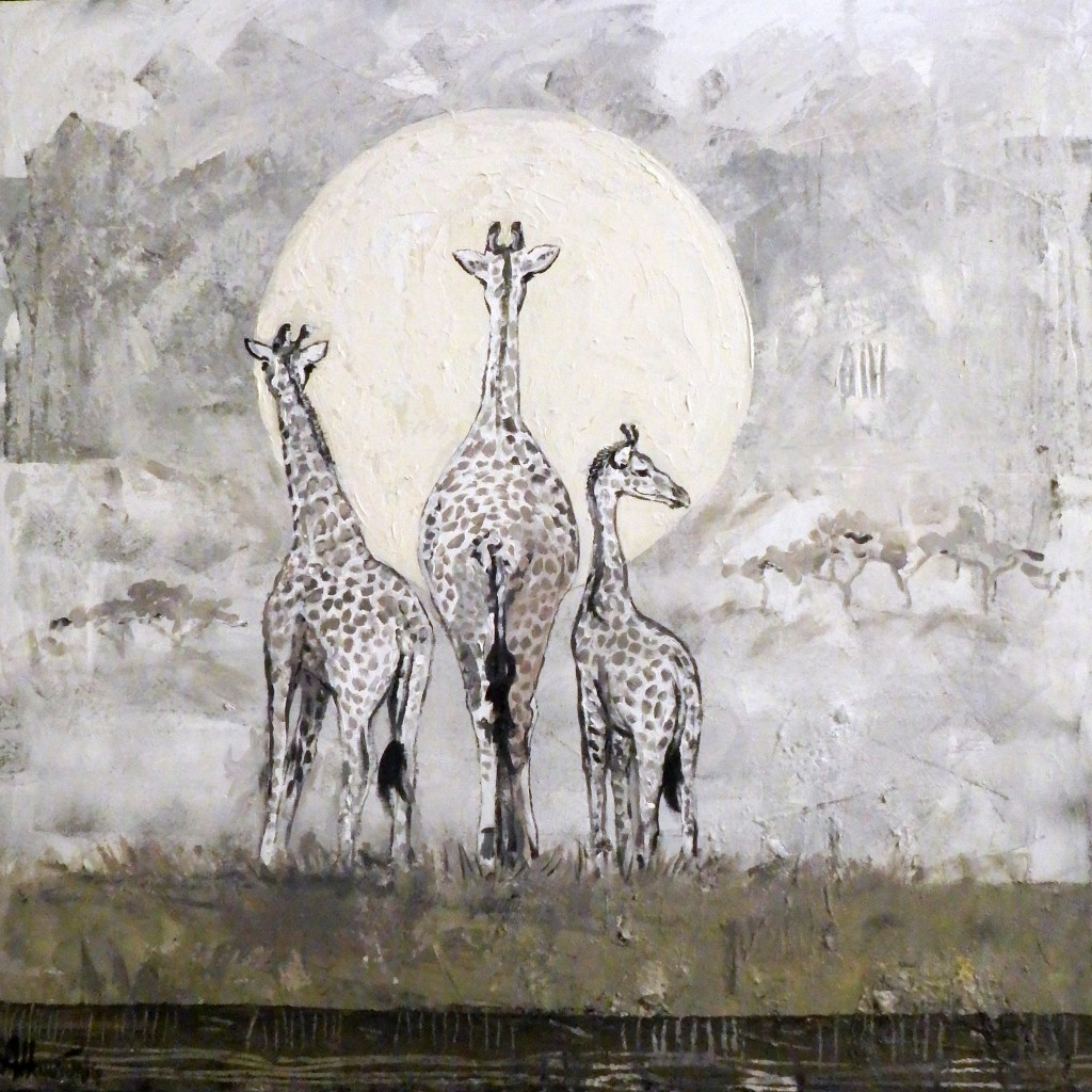 Giraffes under the full moon - SOLGT